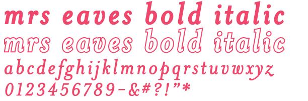 Título y abecedario en mayúsculas con la fuente Mrs. Eaves Bold Italic.