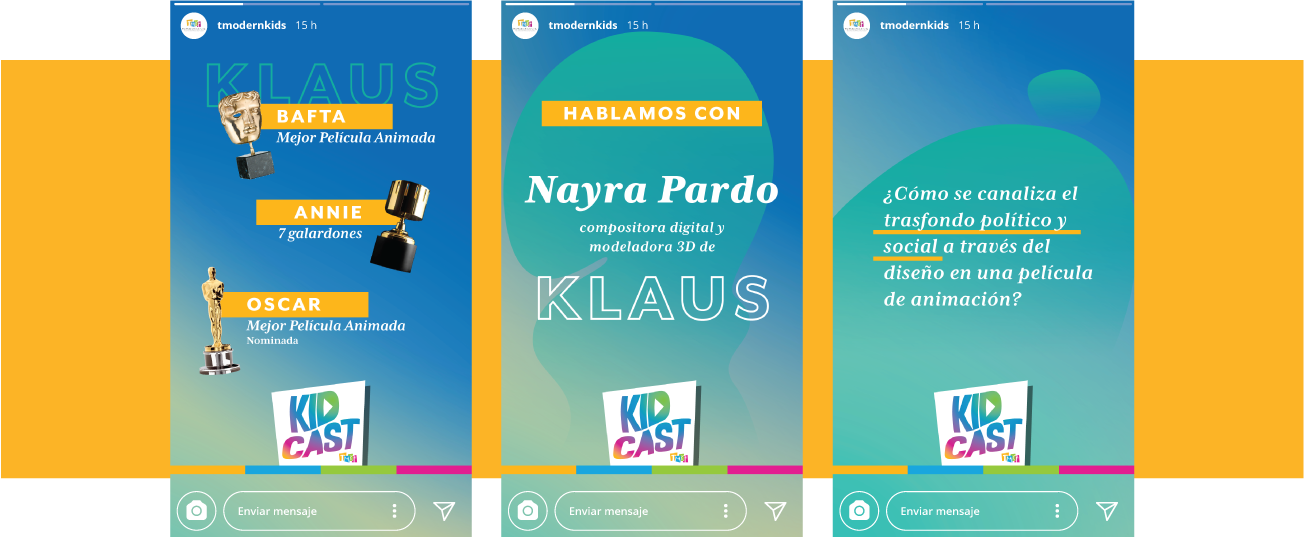 Three Instagram Stories templates over a yellow horizontal band.