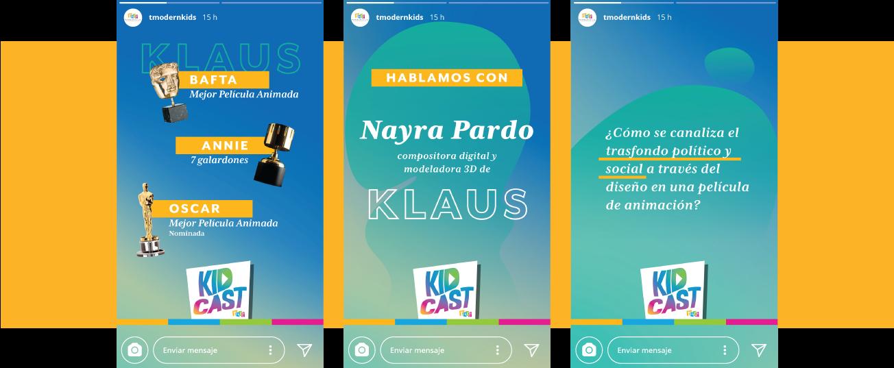 La imagen muestra una franja horizontal amarilla. En el centro hay tres diseños de Instagram Stories en colores azul y verde aguamarina sobre la película Klaus.