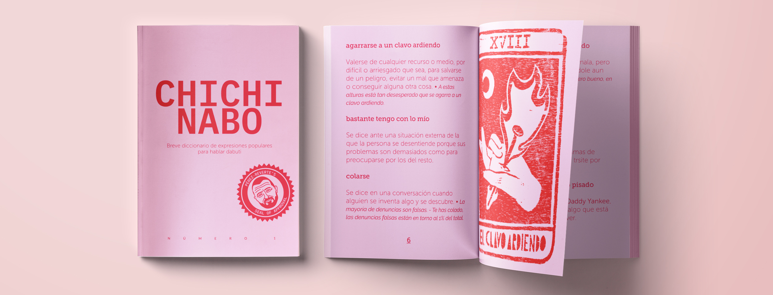 """The image shows two equal zines over a pink background. The zine on the left is closed and we see the cover of CHICHINABO: small dictionary of Spanish popular expressions and idioms to speak as a native"""", and a stamp with the face of Arturo Pérez-Reverte and the text """"Pérez-Reverte's Seal of Approval"""". On the right, the same zine but open."""