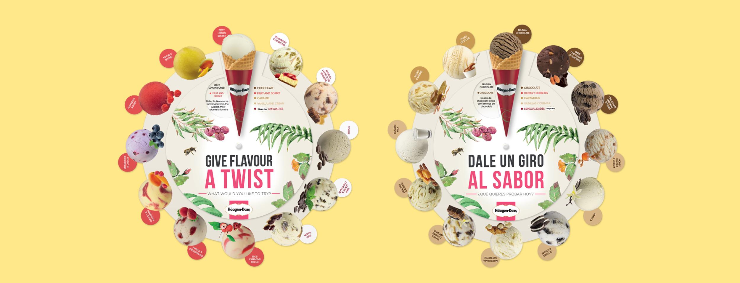 """La imagen muestra dos versiones (inglés y castellano) de una carta giratoria realizada para Häagen-Dazs. Consta de una pieza central donde se muestran las bolas de helado y dos piezas, una a cada lado, con un cono. En la versión inglesa el claim es """"Give flavour a twist"""" y en la española, """"dale un giro al sabor""""."""