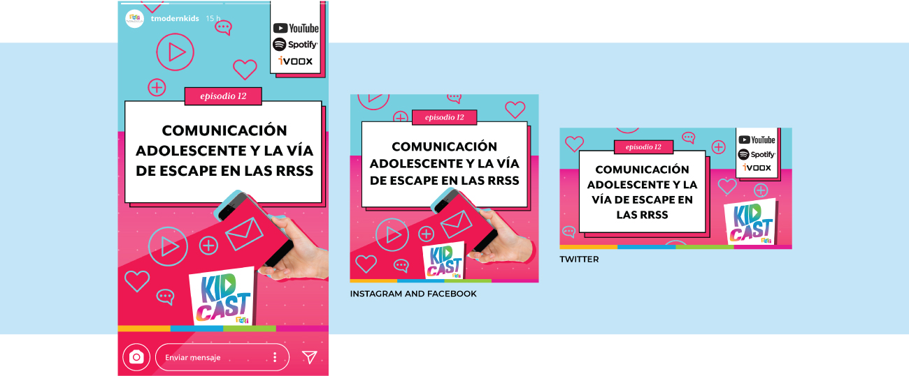 Design for Instagram Stories, Facebook and Instagram post, and Twitter post.