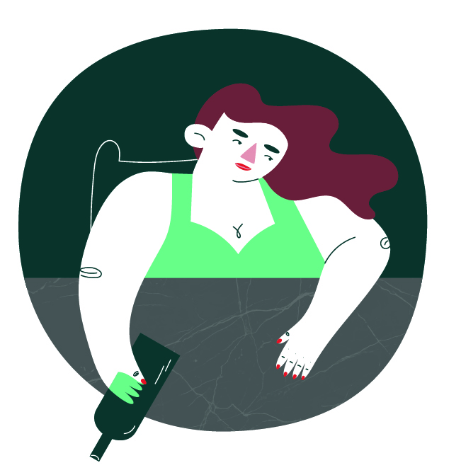 Character design of a woman holding a wine bottle.
