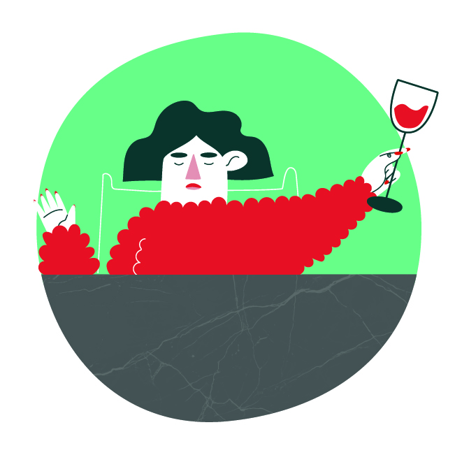 Character design of a woman holding a glass of wine.