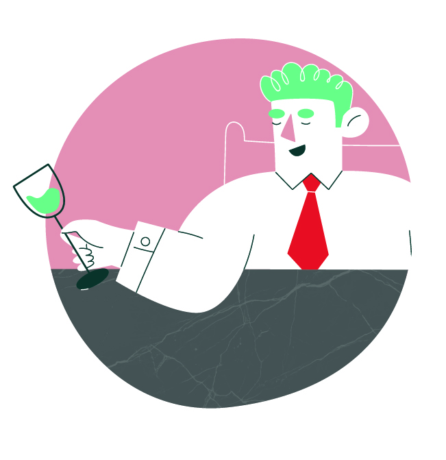 Character design of a man holding a glass of wine.