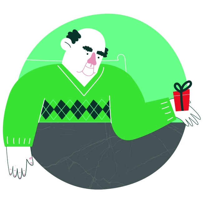 Character design of a grandfather holding a Christmas gift.