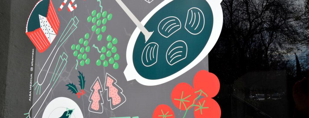 Detalle de la ilustración de escaparate para Cosentino City.