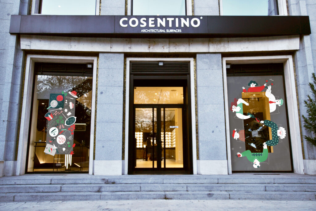 Ilustración de escaparate para Cosentino City Madrid aplicada en las fachadas de la Castellana.